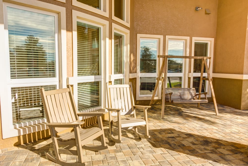 Patio seating area at Brentwood at Fore Ranch in Ocala, Florida.