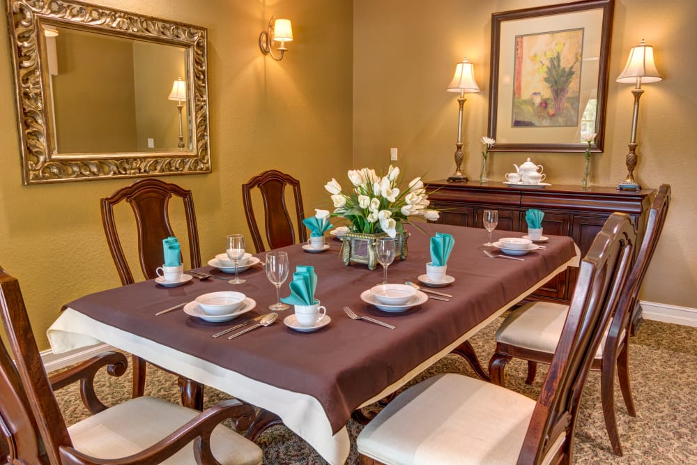Private dining room at Brentwood at St. Pete in St. Petersburg, Florida.