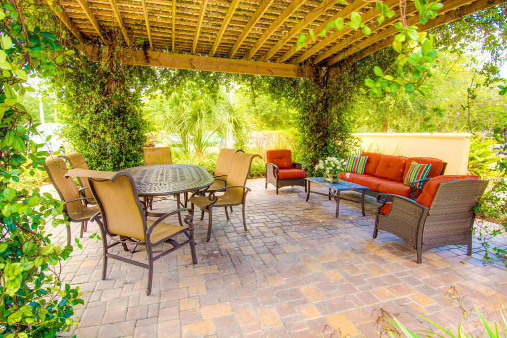 Covered outdoor patio at Brentwood at St. Pete in St. Petersburg, Florida.