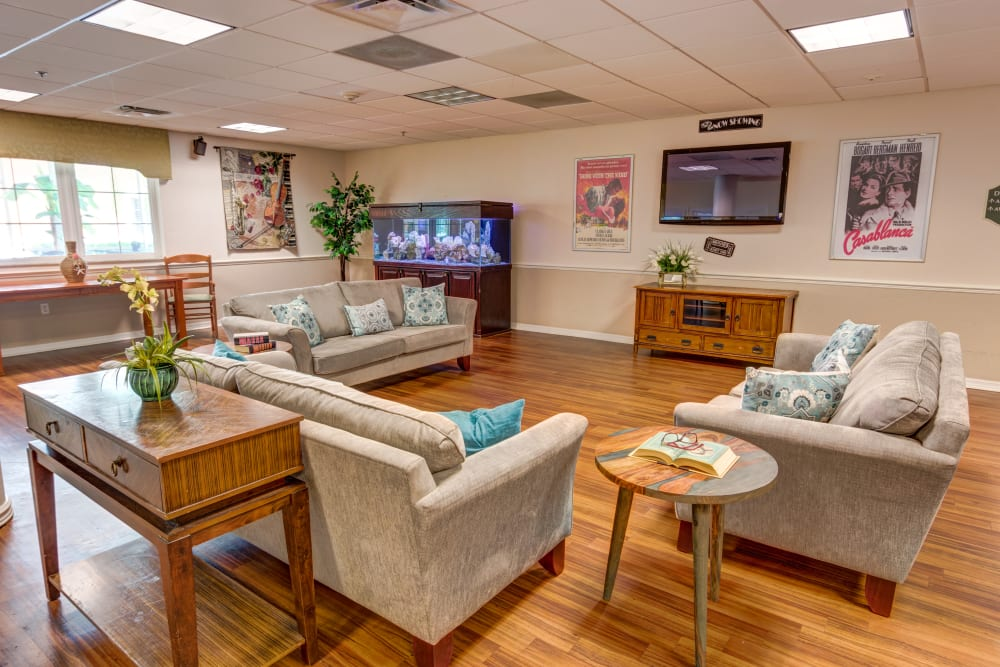 Resident TV room at Brentwood at St. Pete in St. Petersburg, Florida.