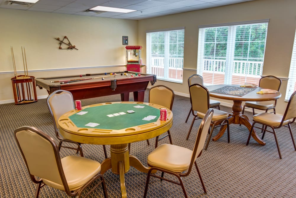 Game room at Brentwood at St. Pete in St. Petersburg, Florida.