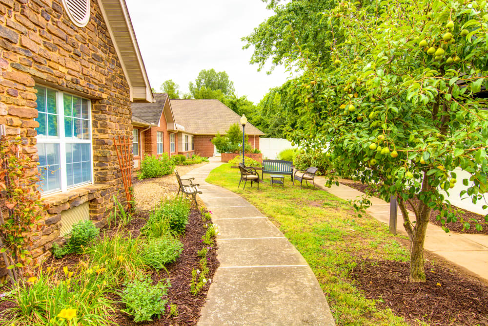 Walking path at Brookstone Assisted Living Community in Fayetteville, Arkansas.