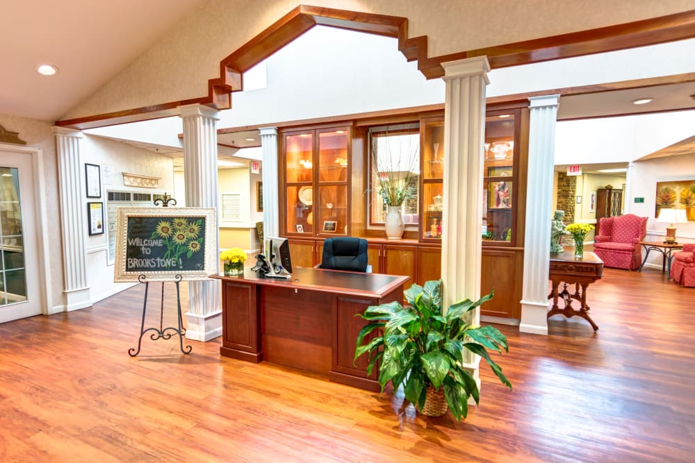 Brookstone Assisted Living Community senior living lobby in Fayetteville, Arkansas.
