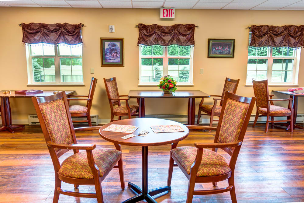 Dinning room area with hard wood floors at Curry House in Cadillac, Michigan