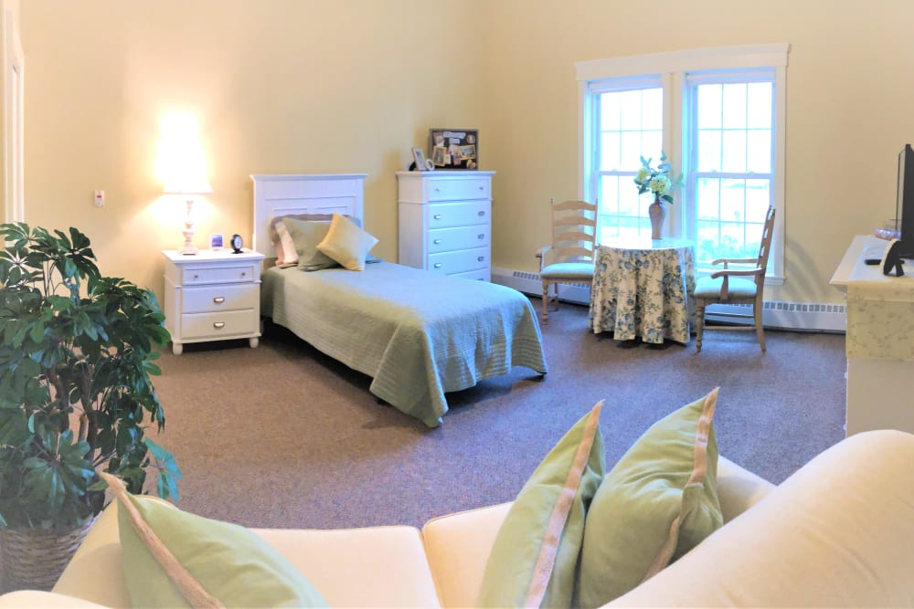 Large resident bedroom at Evolve at Rye in Rye, New Hampshire.