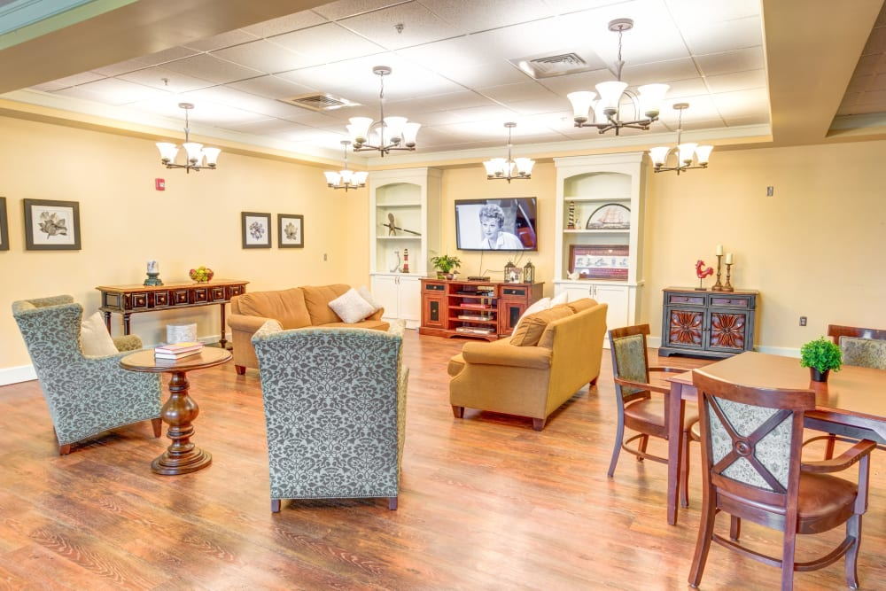Activity and entertainment room at Locust Grove Personal Care & Memory Care in West Mifflin, Pennsylvania
