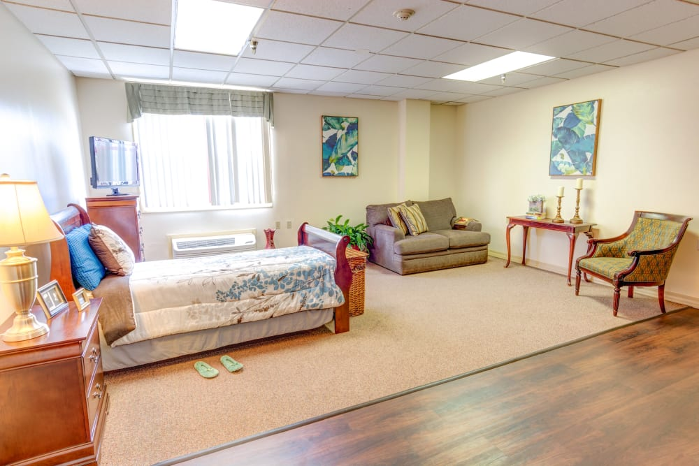 Living room model at Locust Grove Personal Care & Memory Care in West Mifflin, Pennsylvania