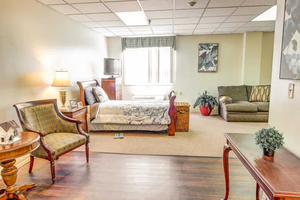 Living room layout at Locust Grove Personal Care & Memory Care in West Mifflin, Pennsylvania