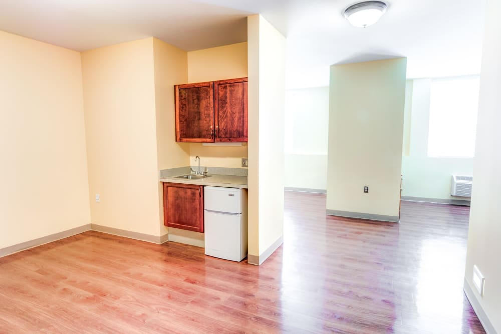 Private apartment with kitchenette at Locust Grove Personal Care & Memory Care in West Mifflin, Pennsylvania