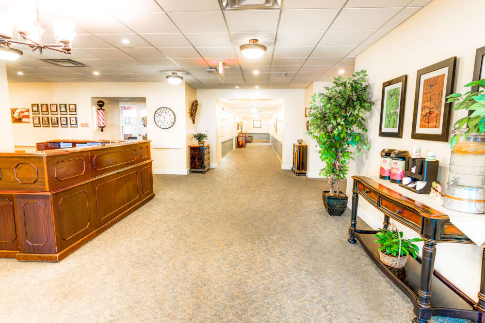 Lobby and reception area at Locust Grove Personal Care & Memory Care in West Mifflin, Pennsylvania