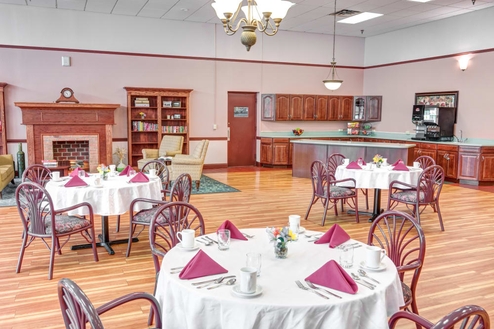 Locust Grove Personal Care & Memory Care in West Mifflin, Pennsylvania serves chef-prepared meals daily in the community dining room