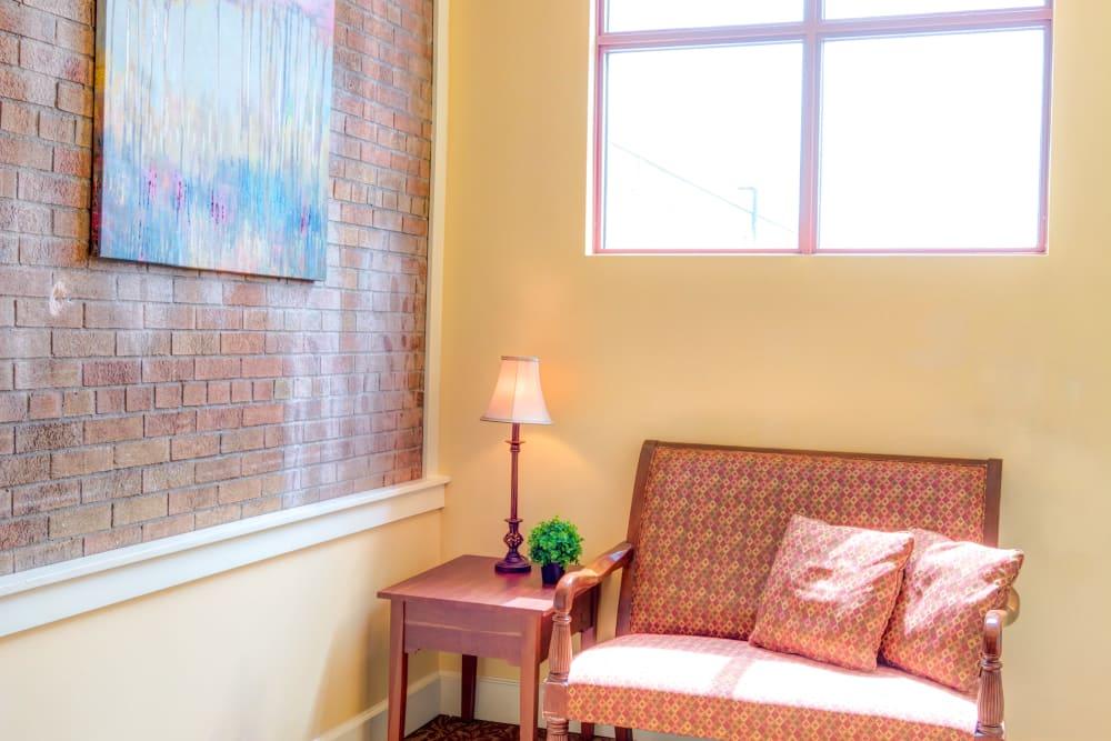 Quiet sitting area at Locust Grove Personal Care & Memory Care in West Mifflin, Pennsylvania