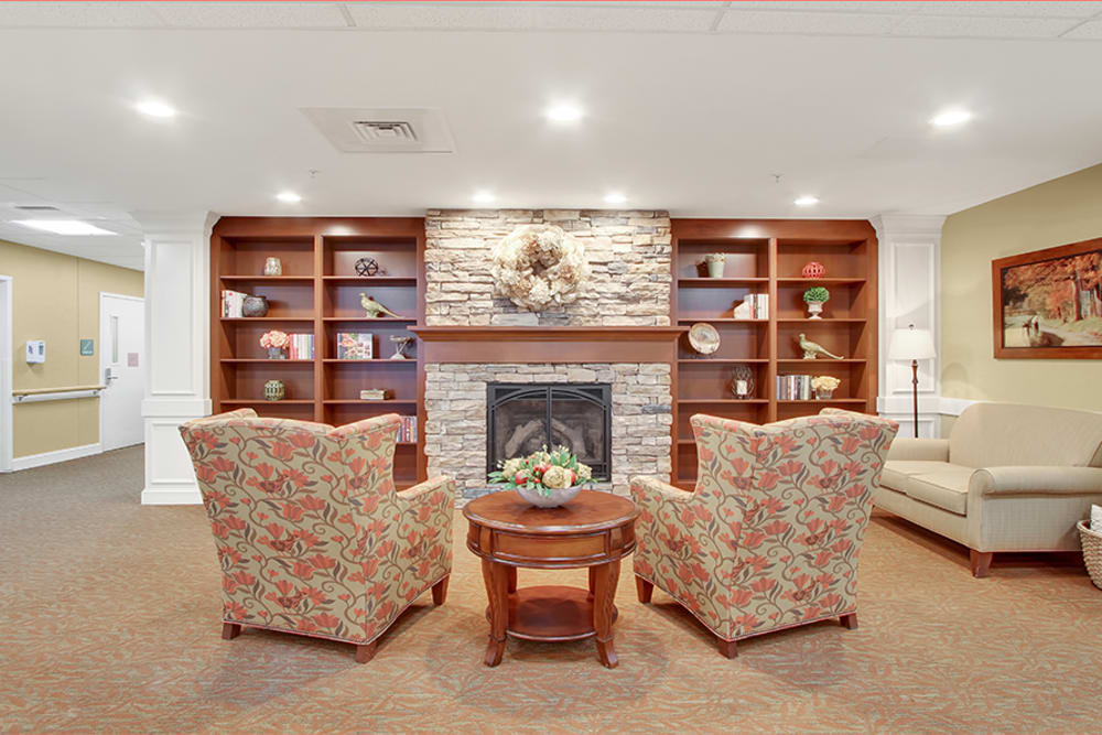 Fireplace and seating at The Haven at Springwood in York, Pennsylvania