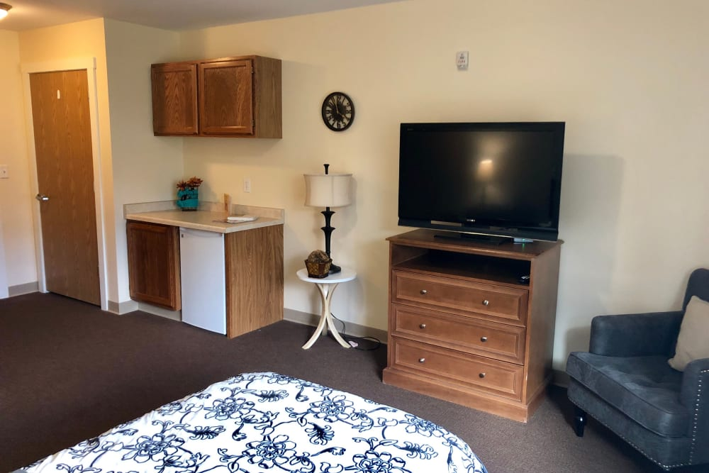 Spacious bedroom with a tv at Gardenview in Calumet, Michigan