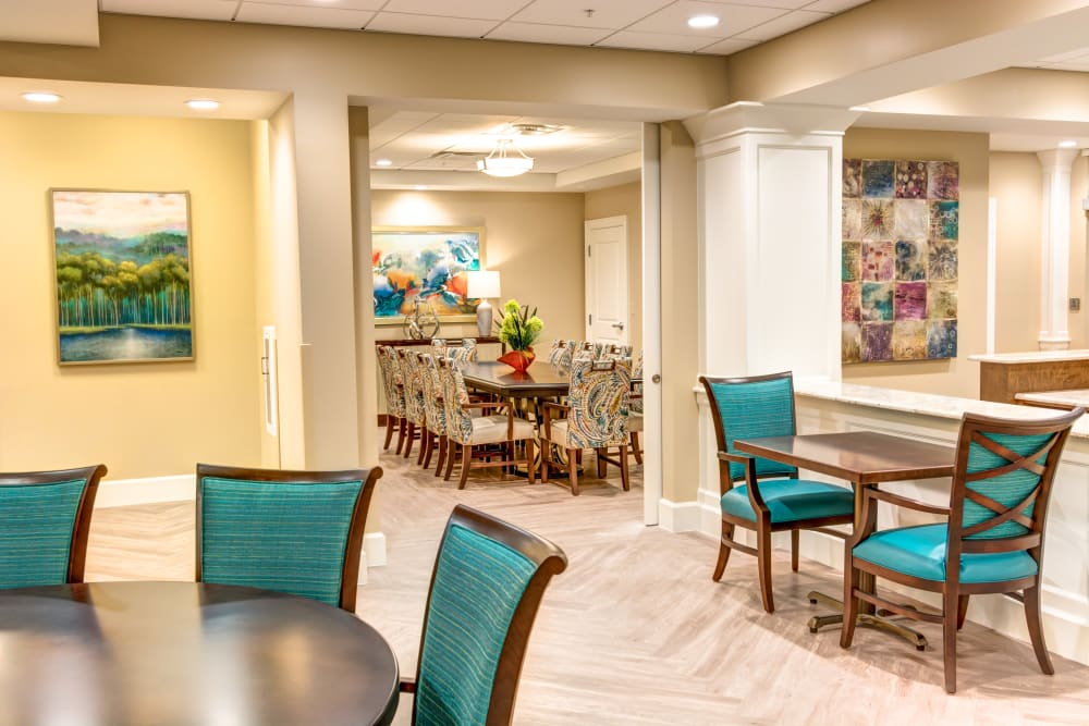 Spacious dining area at Symphony at Delray Beach in Delray Beach, Florida.