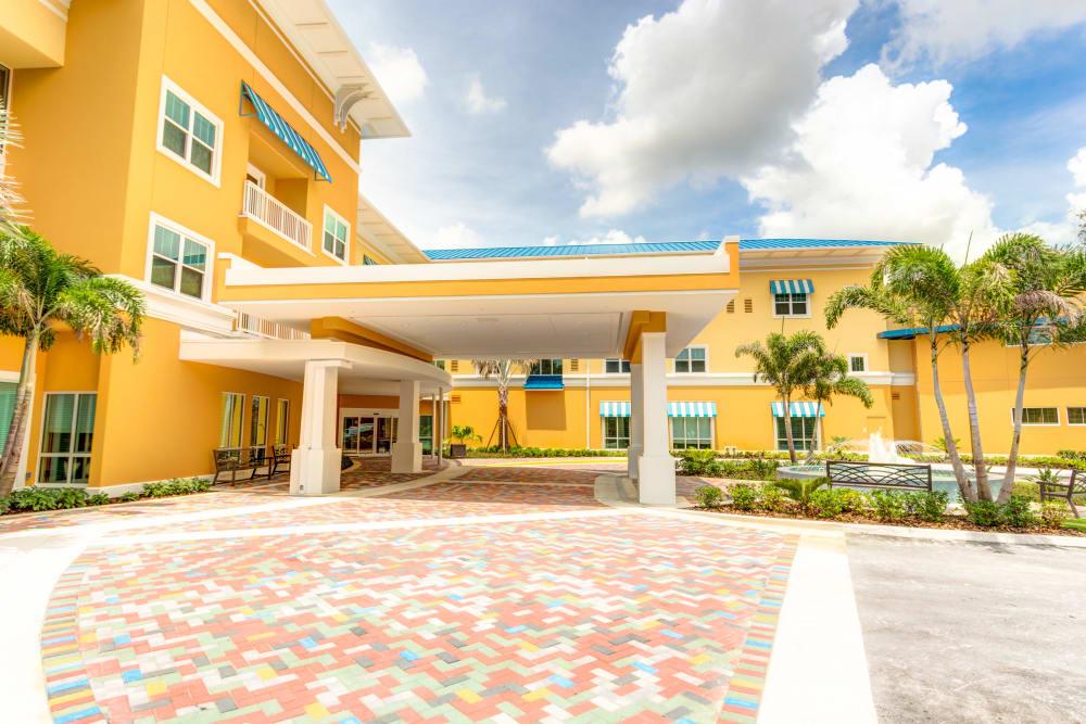 Main entryway at Symphony at Delray Beach in Delray Beach, Florida.