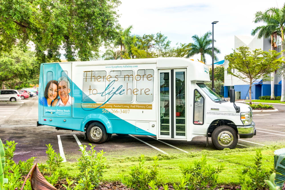 Resident transportation bus at Symphony at Delray Beach in Delray Beach, Florida.