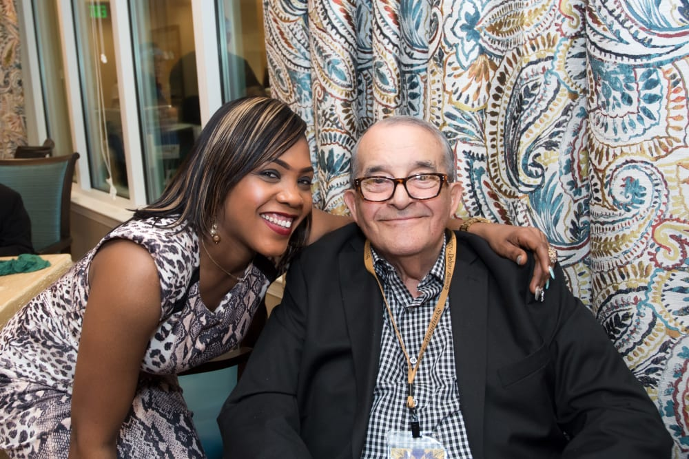 Resident and staff member at Symphony at Delray Beach in Delray Beach, Florida.