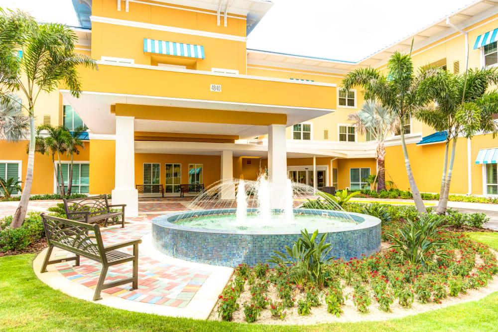 Beautiful fountain at Entrance to Symphony at Delray Beach in Delray Beach, Florida
