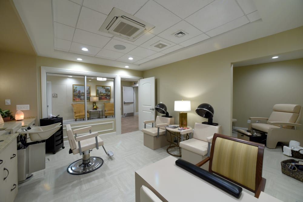 Spacious onsite salon at Symphony at Cherry Hill in Cherry Hill, New Jersey.