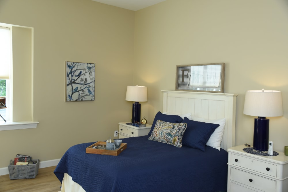 Resident bedroom at Symphony at Cherry Hill in Cherry Hill, New Jersey.