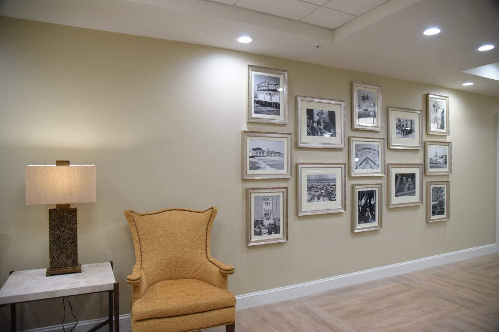 Memory Seating area with photos at Symphony at Cherry Hill in Cherry Hill, New Jersey.