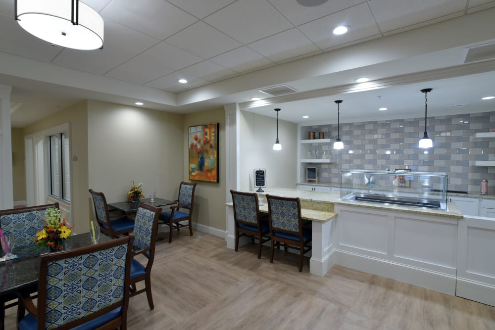 Breakfast bar at Symphony at Cherry Hill in Cherry Hill, New Jersey.