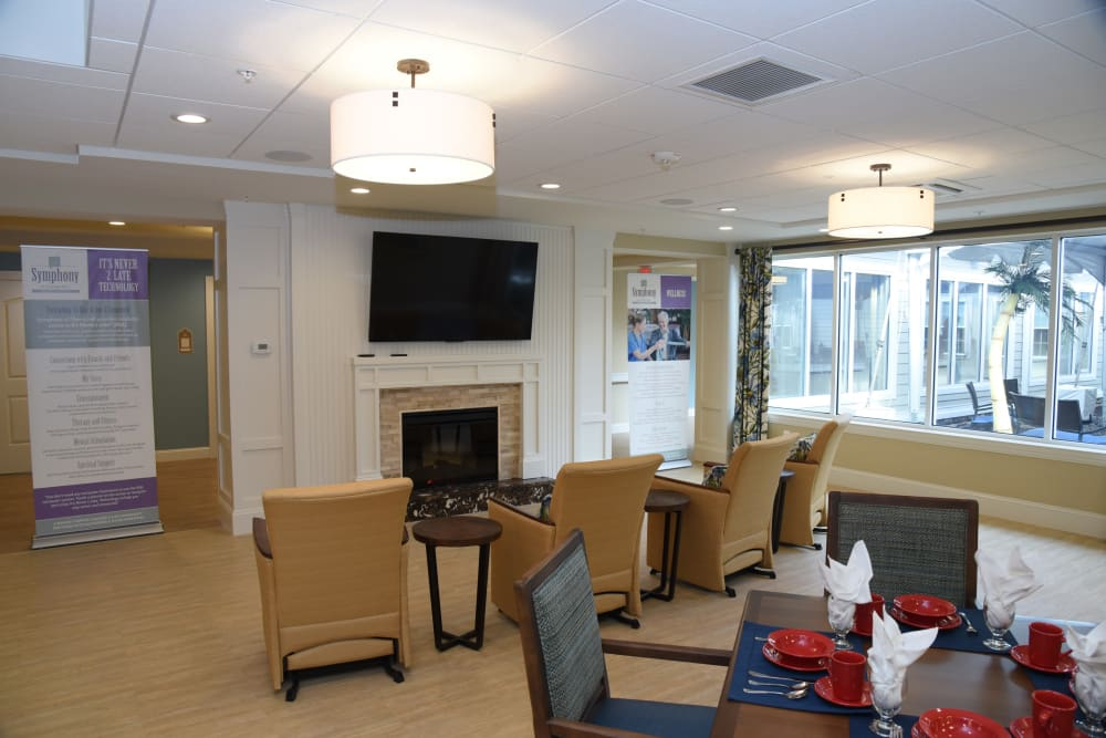 TV room at Symphony at Cherry Hill in Cherry Hill, New Jersey.