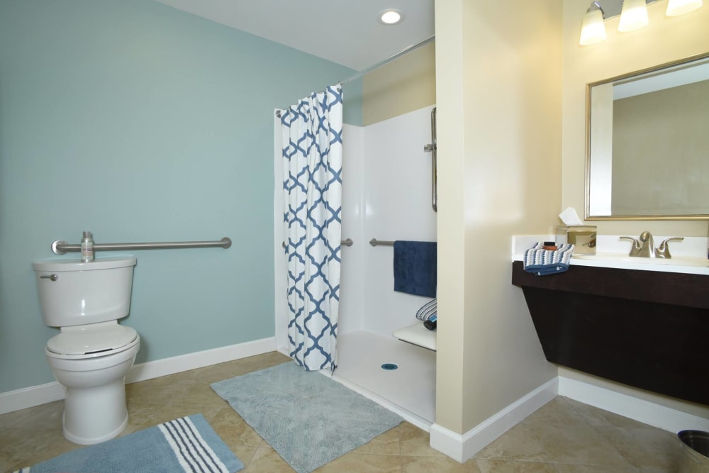 Resident bathroom at Symphony at Cherry Hill in Cherry Hill, New Jersey.