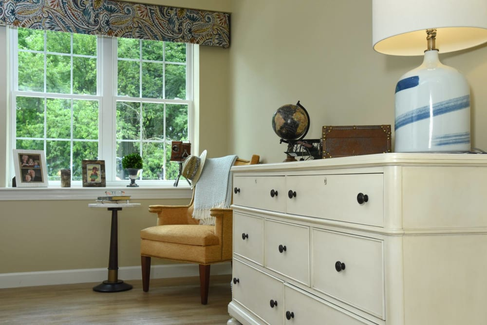 Dresser and a big window at Symphony at Cherry Hill in Cherry Hill, New Jersey.