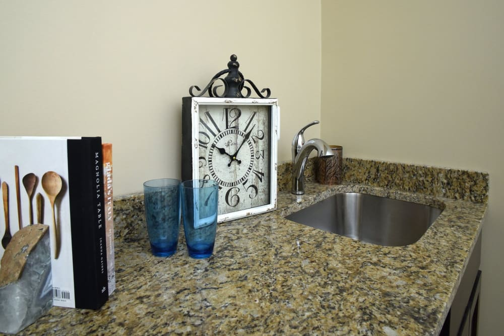 Apartment sink at Symphony at Cherry Hill in Cherry Hill, New Jersey.