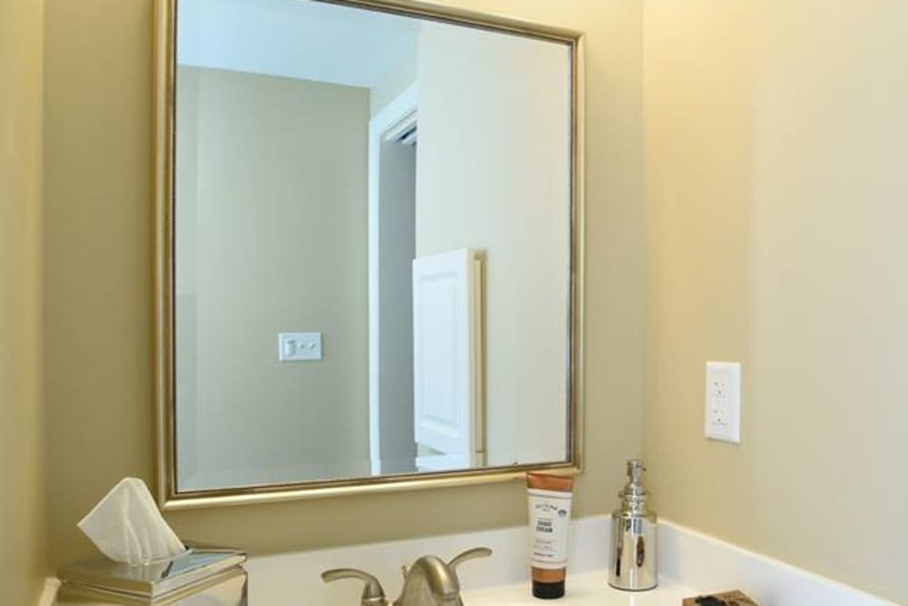 large bathroom mirror at Symphony at Cherry Hill in Cherry Hill, New Jersey.