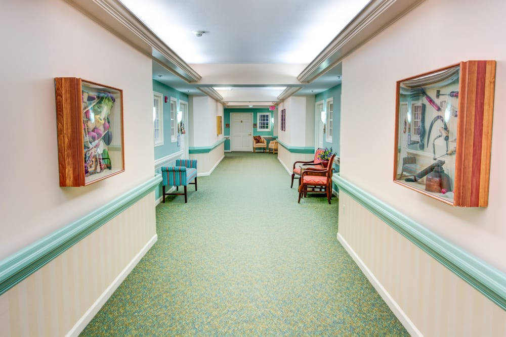 long hallway at the center of Symphony at Mentor in Mentor, Ohio