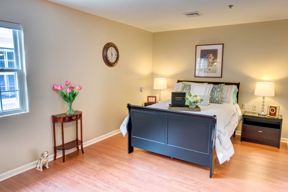 Model unit bedroom at Symphony at Olmsted Falls in Olmsted Falls, Ohio