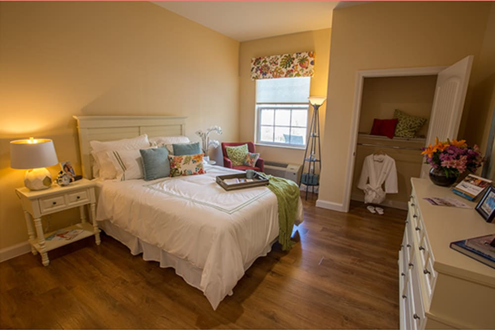 Resident bedroom at Symphony at St. Augustine in St. Augustine, Florida.