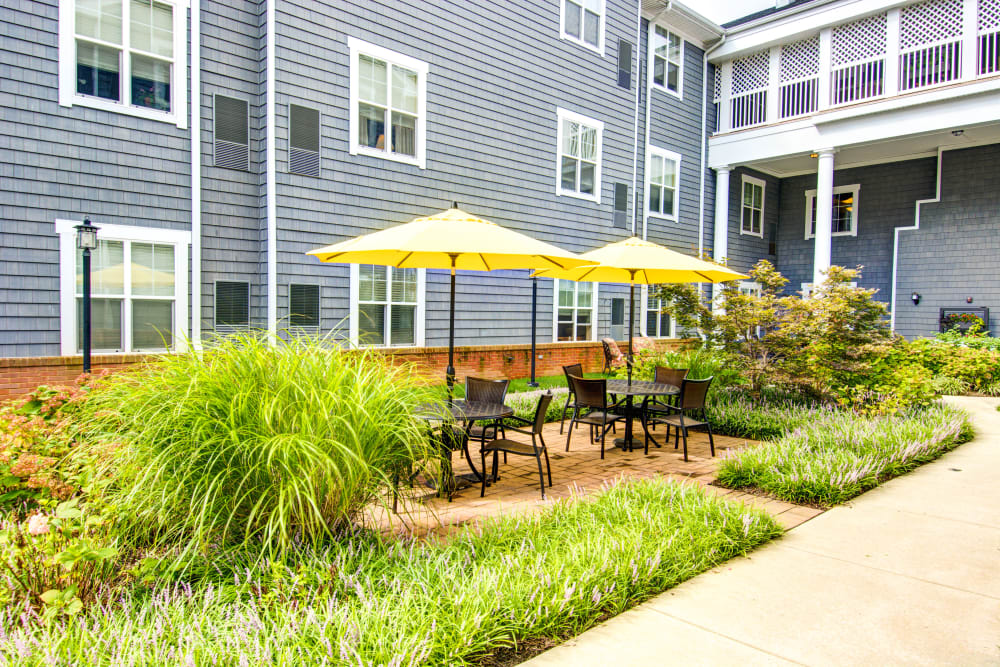 Outdoor courtyard with patio tables and umbrellas at Baltimore, Maryland