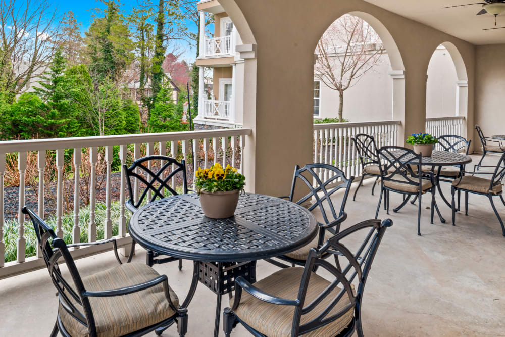Outdoor patio area at Symphony Square in Bala Cynwyd, Pennsylvania