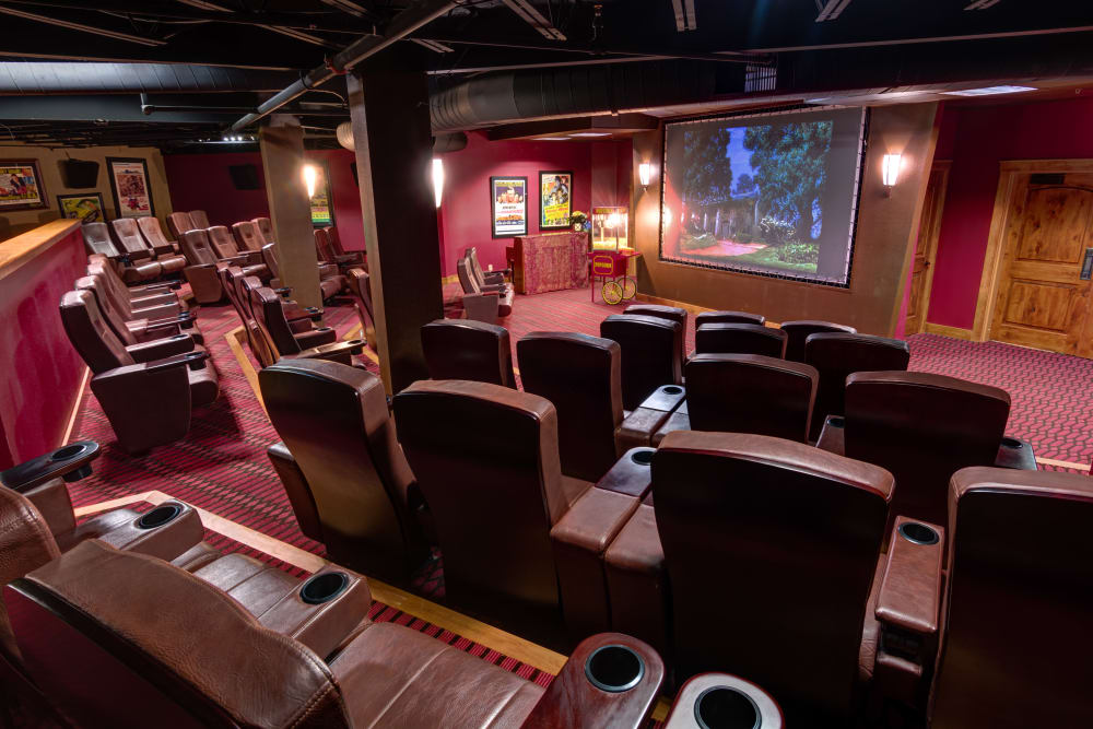Movie theater at The Atrium at Serenity Pointe in Hot Springs, Arkansas