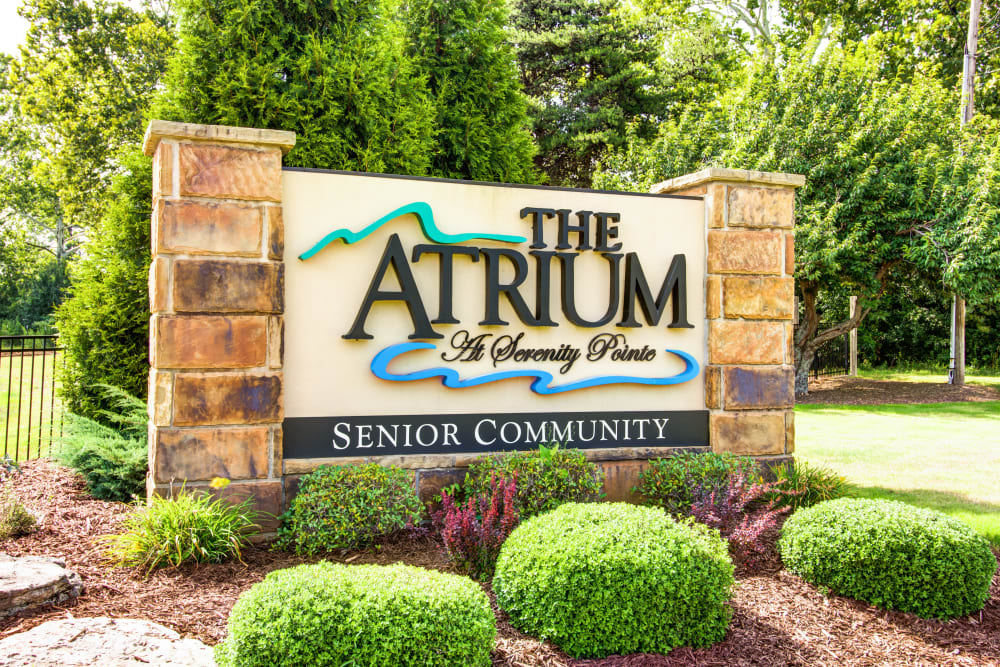 signage for The Atrium at Serenity Pointe in Hot Springs, Arkansas