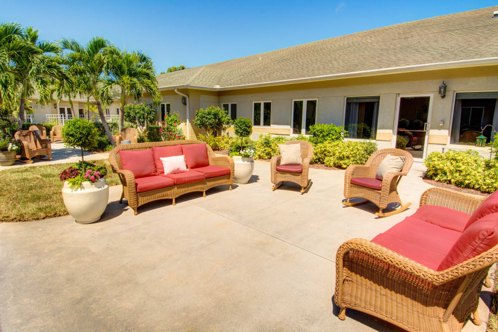 Spacious patio at The Lynmoore at Lawnwood Assisted Living and Memory Care in Fort Pierce, Florida.