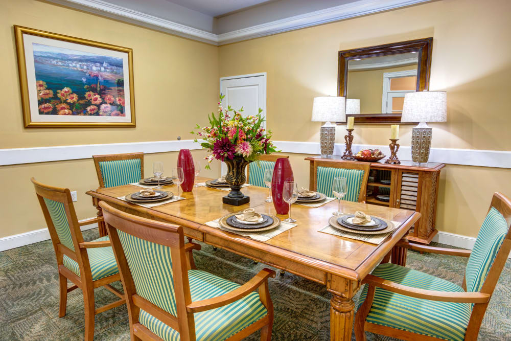 Private dining room at The Lynmoore at Lawnwood Assisted Living and Memory Care in Fort Pierce, Florida.