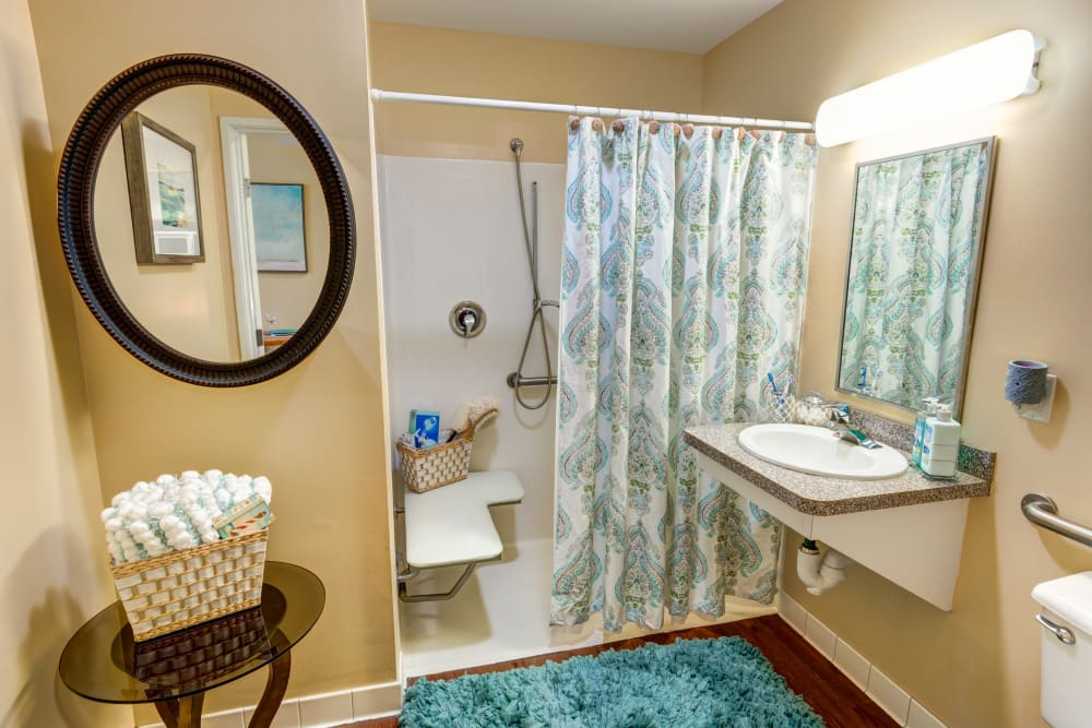 Spacious Resident bathroom at The Lynmoore at Lawnwood Assisted Living and Memory Care in Fort Pierce, Florida.