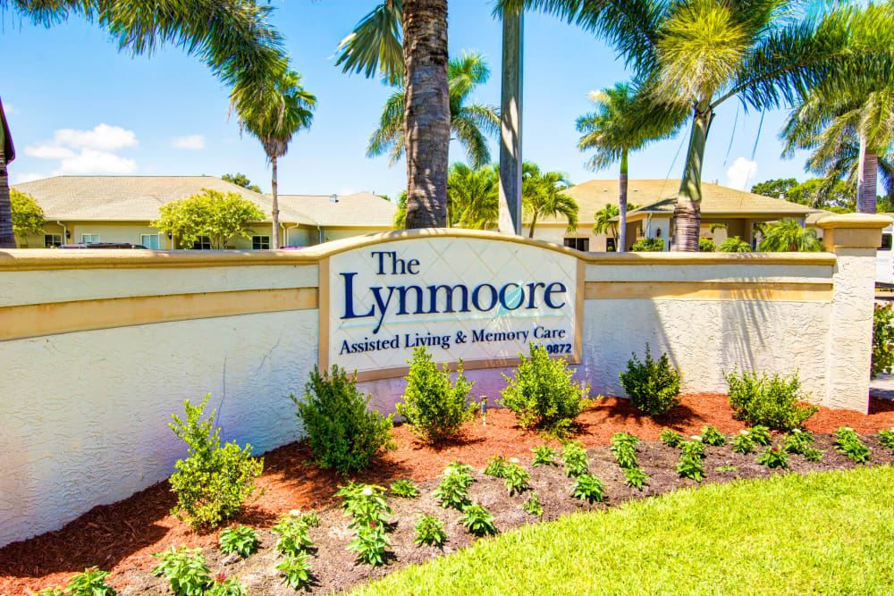 The Lynmoore at Lawnwood Assisted Living and Memory Care entry sign in Fort Pierce, Florida