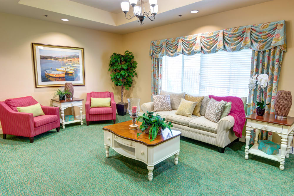 Resident seating area at The Lynmoore at Lawnwood Assisted Living and Memory Care in Fort Pierce, Florida