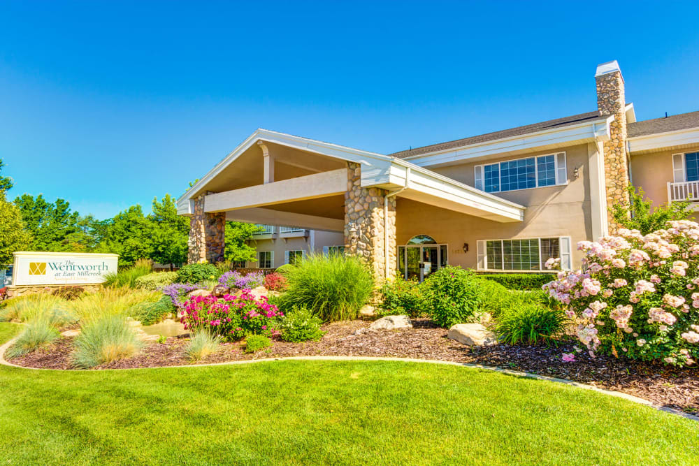 The Wentworth at East Millcreek in Salt Lake City, Utah entry way and lush landscaping