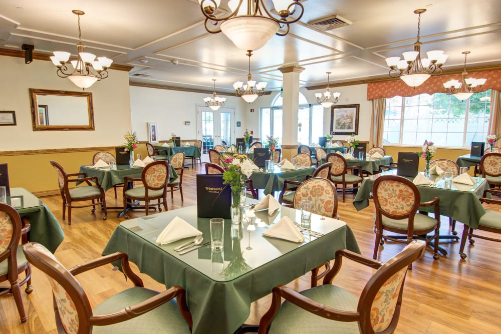 Large dining hall at The Wentworth at East Millcreek in Salt Lake City, Utah