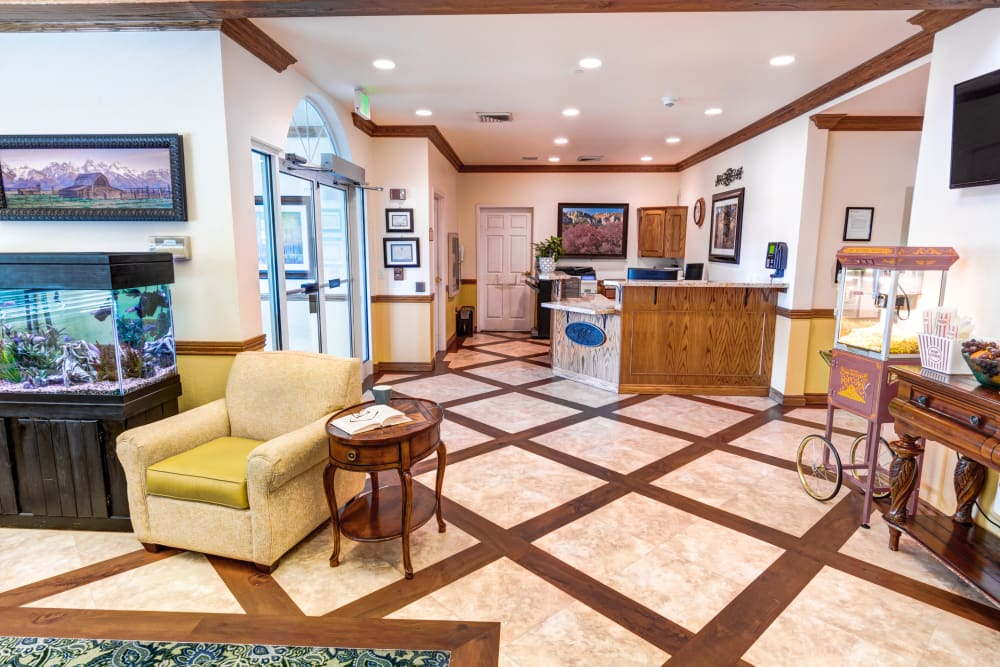 Main entrance and reception at The Wentworth at East Millcreek in Salt Lake City, Utah