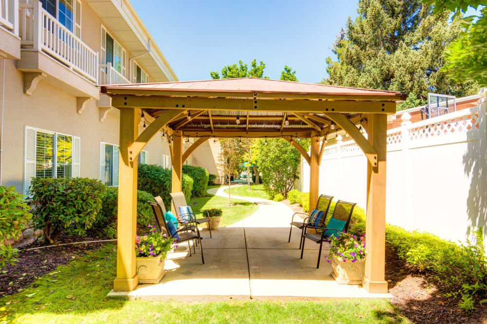 Gazebo and seating at The Wentworth at East Millcreek in Salt Lake City, Utah