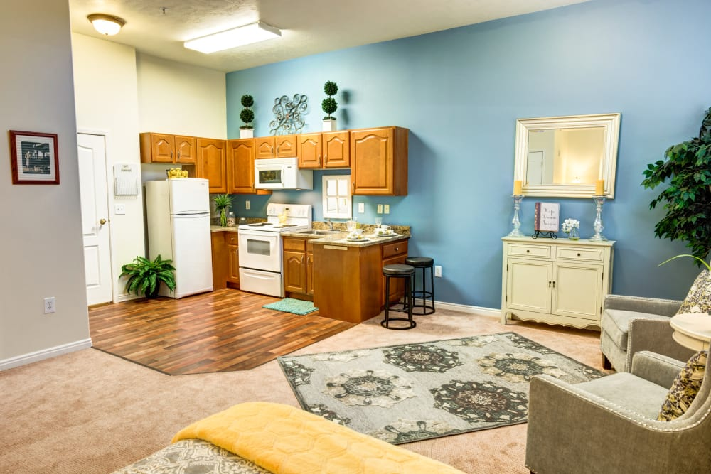 Apartment kitchenette at The Wentworth at Coventry in Salt Lake City, Utah