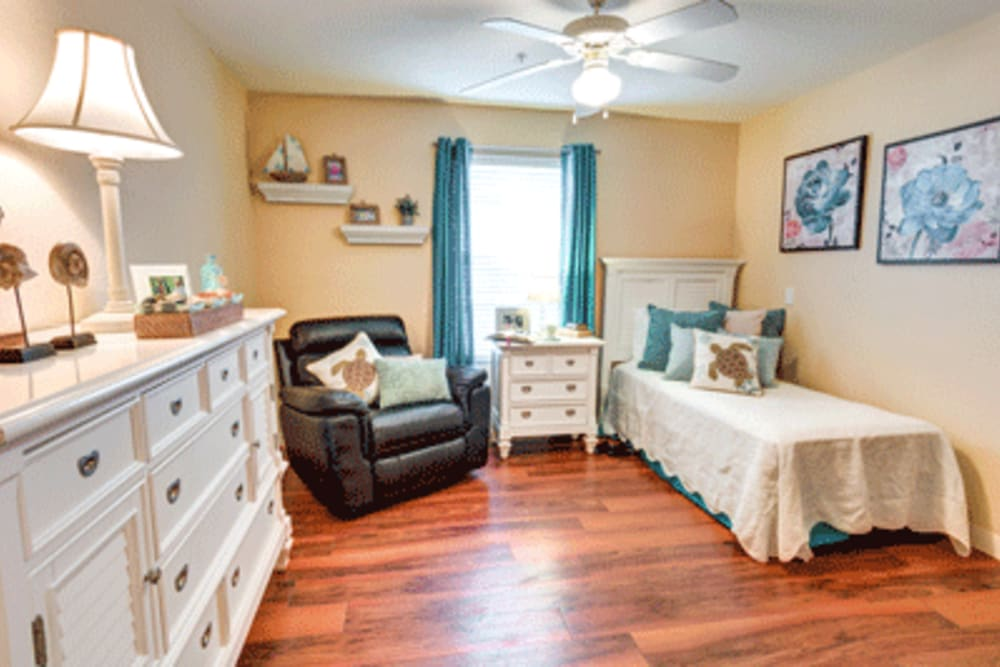 Resident bedroom at The Villas at Sunset Bay in New Port Richey, Florida.